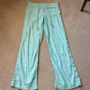 Level 99 mint green linen pants from Anthropology